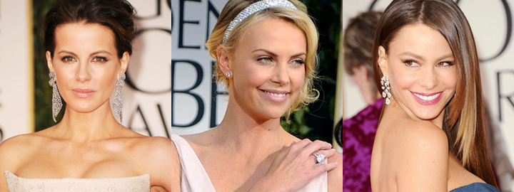 celebrities wearing diamonds at the Golden Globe awards