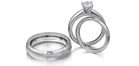 Circle of love engagement ring matching wedding bands from Shimansky