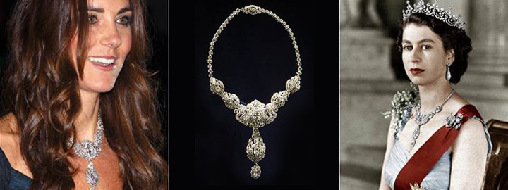 Catherine, Duchess of Cambridge (Kate Middleton) wearing royal jewelles