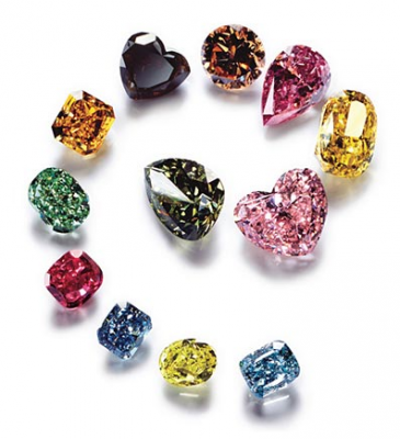 An arrangement of loose processed fancy diamonds