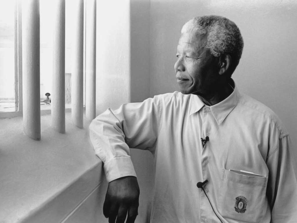 Nelson Mandela at Robben Island after being freed