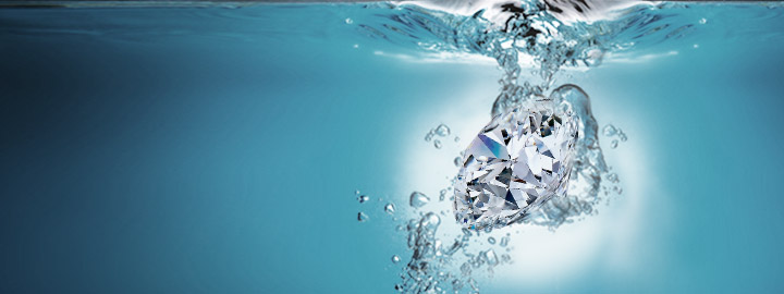diamond in water graphic
