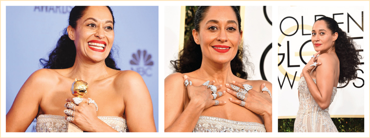 Tracee Ellis Ross wearing diamonds at the Golden Globes 2017