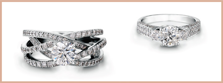 solitaire set style melee shoulders diamonds dublin round channel with different rings in ring voltaire engagement