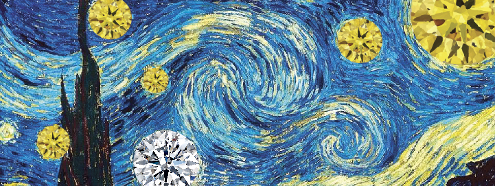 Diamonds incorporate key elements of Vincent's artwork, which is light and colour