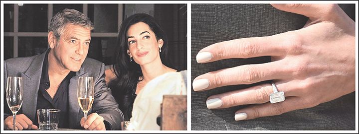 Amal's beautiful 7 carat emerald cut engagement ring from George Clooney
