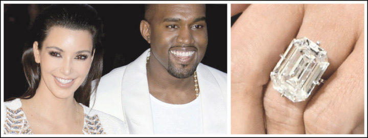 Kanye West spent an estimated R105 million on Kim Kardashian's engagement ring