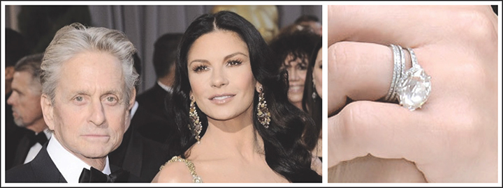Michael Douglas proposed to Catherine Zeta-Jones with a 1920's antique ring