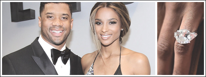 Ciara's ring from American football player, Russell Wilson cost R26 million