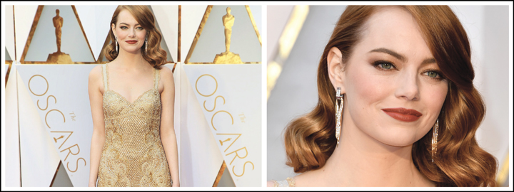 Emma Stone went for gold during the 2017 Oscars