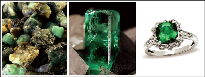 An emerald gemstone symbolises rebirth, wisdom, and success in love