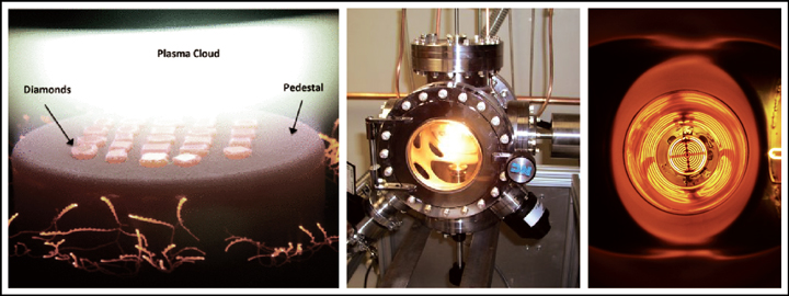 A synthetic diamond is formed through a chemical vapour deposition
