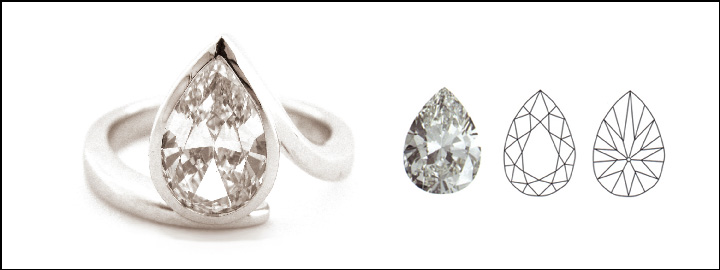 A pear shape diamond is a combination of a round brilliant cut diamond and marquise shape diamond