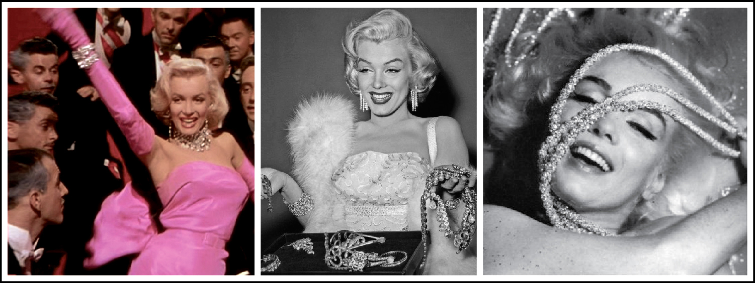 Marilyn Monroe wears a 24-carat, pear-shaped diamond necklace in Gentlemen Prefer Blondes