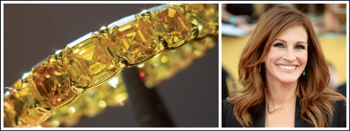 A yellow diamond can be compared to Julia Roberts's happy and vibrant personality