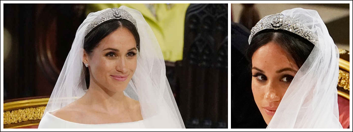 Meghan's veil went perfectly with Queen Mary's diamond bandeau.