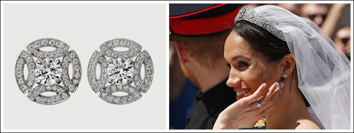 Meghan wore a pair of exquisite diamond halo stud earrings on her wedding day.