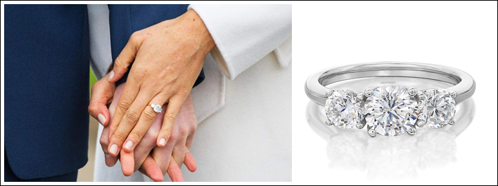 For Meghan Markle inspired trilogy ring opt for a large cushion centre diamond and two smaller diamonds set in yellow gold