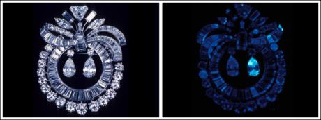 Fluorescence in a diamond under UV light