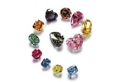An arrangement of loose processed fancy diamonds