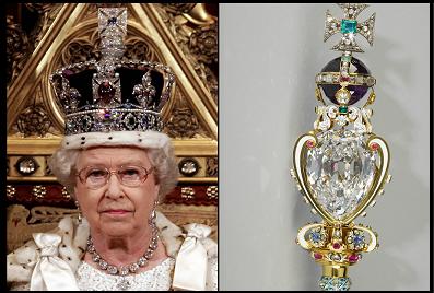 Queen Elizabeth wearing the crown jewelles