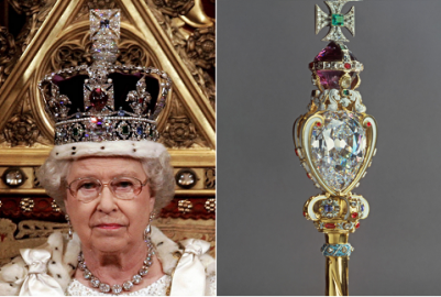 Queen Elizabeth wearing the crown jewelles