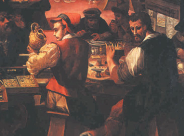Painting of workers cutting and refining diamonds