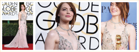 Emma Stone wearing diamonds at the Golden Globes 2017