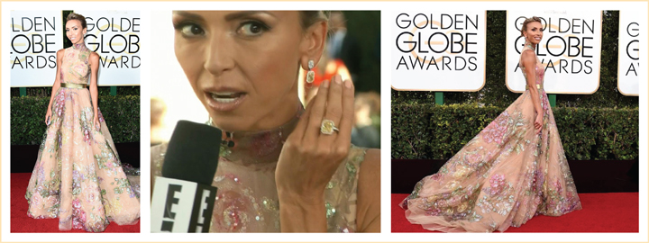 Giuliana Rancic wearing diamonds to the 2017 Golden Globe Awards
