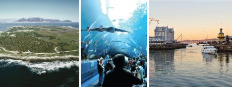 Left: Robben Island Center: Cape Town Aquarium Right: The V&A Waterfront