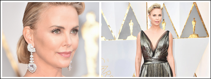 Charlize's drop earrings left everyone speechless on the red carpet