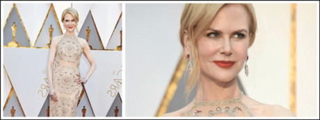 Nicole Kidman added a bit of colour to her one of a kind pair of earrings
