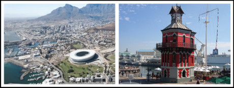 Left: Arial photo of Cape Town Right: The Clock Tower at the V&A Waterfront