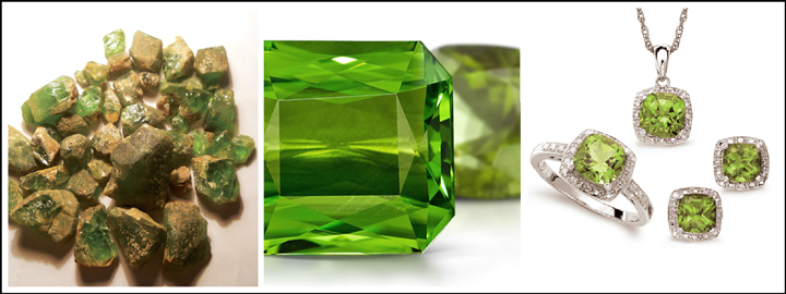 A peridot gemstone represents good fortune