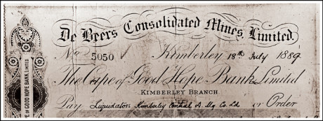 The first certificate for the very first diamond mined in Kimberley