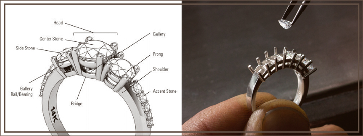 Creating a diamond setting is an extremely delicate process