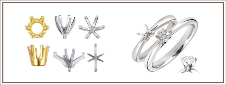 A prong setting is a small metal claw that securely holds the diamond