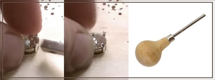 A diamond setter will use a pusher to push claws over a gemstone