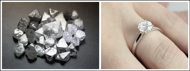 Rough diamonds are mined before they can be sold to the manufacturer