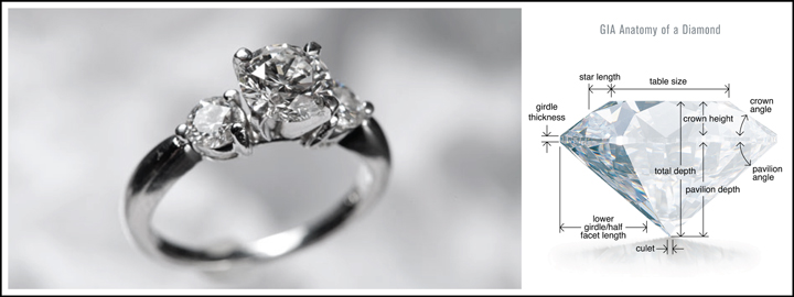 The GIA established a global standard to which a diamond's characteristics is measured