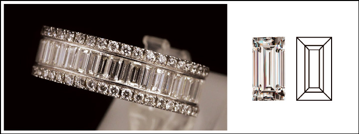 The baguette cut is a spectacular addition to a larger faceted diamond