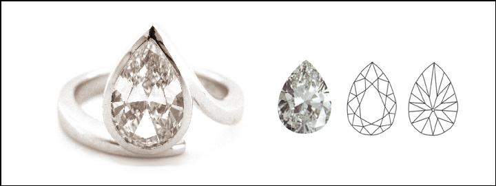 A pear shape diamond is a combination of a round brilliant cut diamond and marquise shape diamond