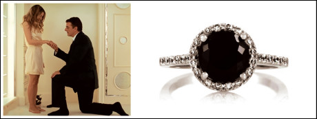 Mr Big pops the question with a large black diamond engagement ring in Sex and the City 2