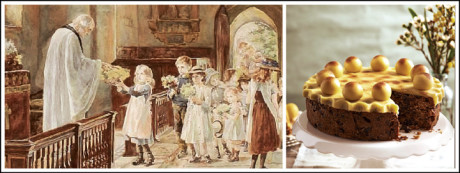 In Europe mothers are spoiled with cards, Simnel Cake (glazed fruitcake), flowers and special dinners