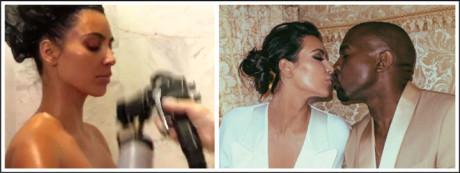 Reality star, Kim Kardashian had a diamond-flecked spray before her wedding day