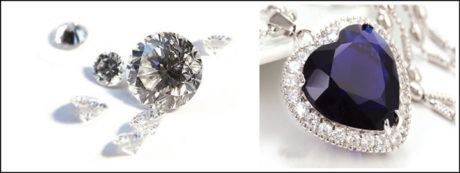 The fictional jewellery item was made by cubic zirconia set in white gold