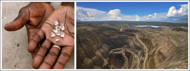 Zimbabwe produces medium-range colour diamonds with a high quality.