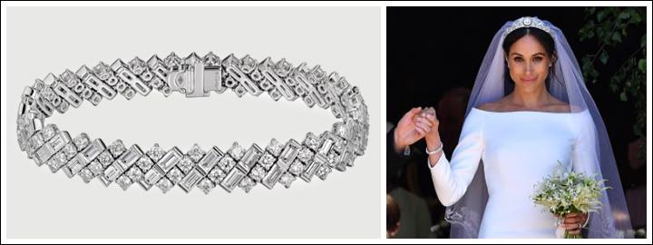 Meghan wore a beautiful bespoke diamond bracelet