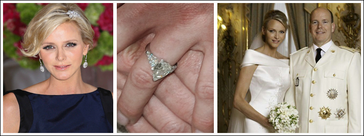 The elegant appearance of the pear-shaped diamond fits perfectly with Princess Charlene's effortless demeanour.