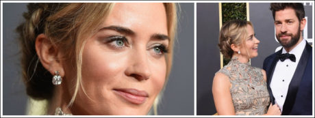 Emily Blunt wore subtle grey eye shadow and bedazzled her overall look with a pair of ruby and diamond earrings